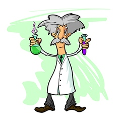 Scientist with flasks vector