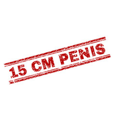 Scratched textured 15 cm penis stamp seal vector