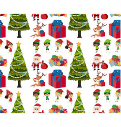 seamless background design with christmas tree vector image