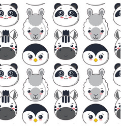 Seamless pattern with cute black and white vector