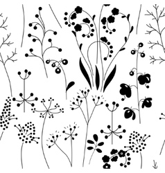 Seamless pattern with stylized herbs and plants B vector image