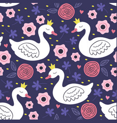 Seamless pattern with white princess swan vector