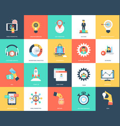 Seo and marketing flat icons vector