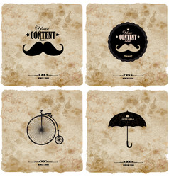 set four vintage postcard vector image