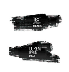 set of abstract black watercolor stroke banners vector image