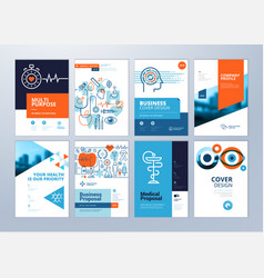 Set of medical brochure vector