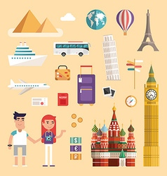 Set of Tourism Concept Vacation Flat Style Icons vector image