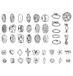 Set with stylized rings beads and charms for vector image