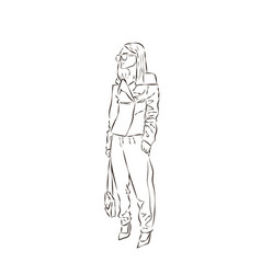sexy fashion girl silhouette drawing in sketch vector image