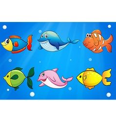 Six colorful and smiling fishes under sea vector