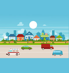 small town and suburb with private suburban homes vector image