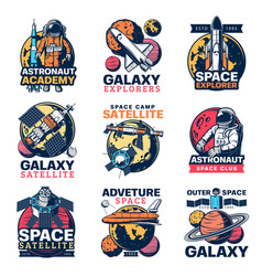 space astronaut spaceship and planet icons vector image