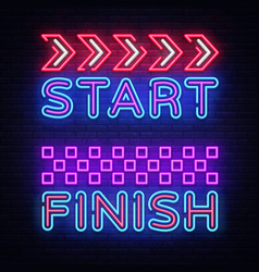 start finish neon sign start finish design vector image