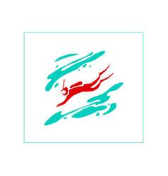 Stylized image a scuba diver vector