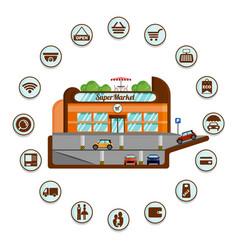 supermarket with underground parking infographics vector image