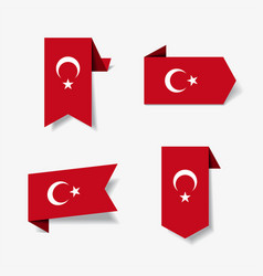 Turkish flag stickers and labels vector
