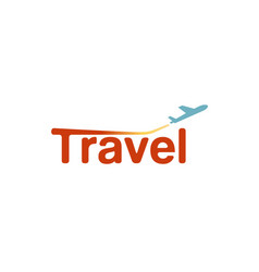 Typography travel airplane creative letter logo vector