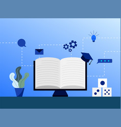 website e learning education online system study vector image