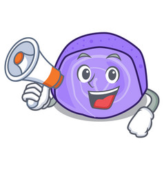 With megaphone blueberry roll cake character vector
