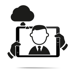 Hands holding a tablet with isolated screen vector image vector image
