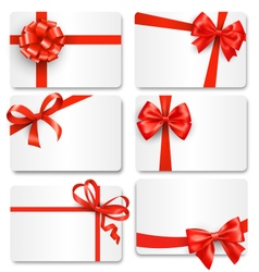 Set collection of festive cards with bows isolated vector
