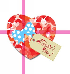 Valentine gift tag hearts card vector image vector image