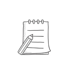 Writing pad and pen sketch icon vector image