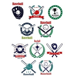 Baseball club and game emblems with equipment vector image vector image