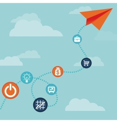 business concept -flying paper plane vector image vector image