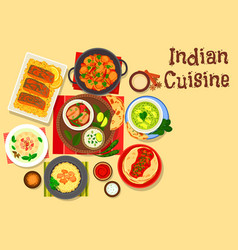 indian cuisine dinner with cream dessert icon vector image