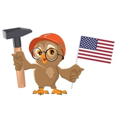 Labor Day USA Owl holding hammer and American vector image vector image