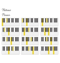 Piano tritone interval infographics with keyboard vector image