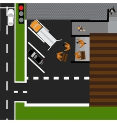 Road infographics Displayed goods unloaded in the vector image