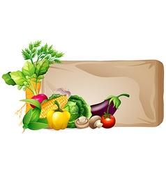Frame design with fresh vegetables vector image vector image