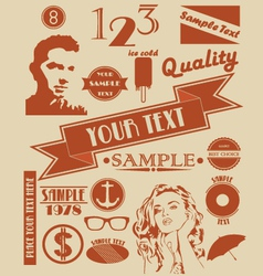 various retro signs and symbols vector image vector image