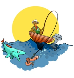 A good fisherman on the pond vector