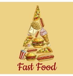 Fast food icons in pizza slice shape vector image