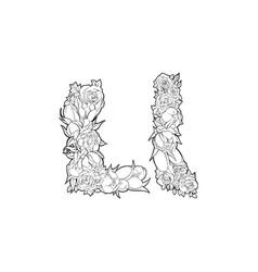 flower alphabet the letter l vector image vector image
