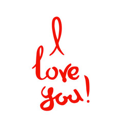 i love you lettering red handwritten words on a vector image vector image