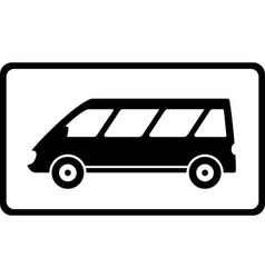 icon with black mini bus silhouette vector image