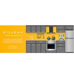 modern kitchen room interior banner for your web vector image vector image