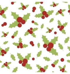 Seamless pattern with holly berries and leaves vector image