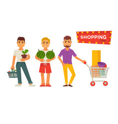shopping time bright signboard and male cartoon vector image