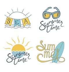 summer set of logo design for banner poster vector image