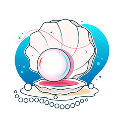 A beautiful pearl in a shell vector