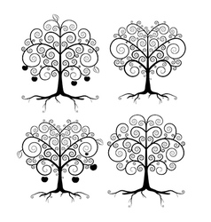 Abstract Black Tree Set vector image