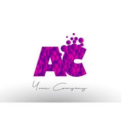 ac a c dots letter logo with purple bubbles vector image