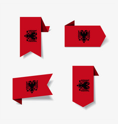 Albanian flag stickers and labels vector