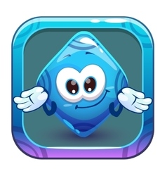 App icon with funny cute blue rhombus vector