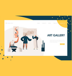 Art gallery exhibition presentation landing page vector